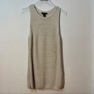 WHBM Cream Metallic Sleeveless Long Sweater Size L
